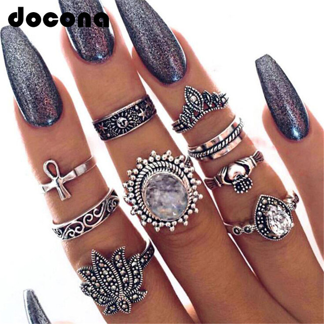 docona Boho Antique Silver Color Lotus Crown Shape Midi Rings Set for Women Girl