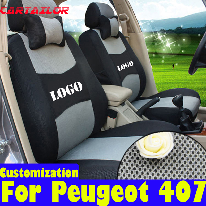 Cover seats for peugeot 407 seat covers interior accessories sandwich fabric car styling seat cushions set black car protector