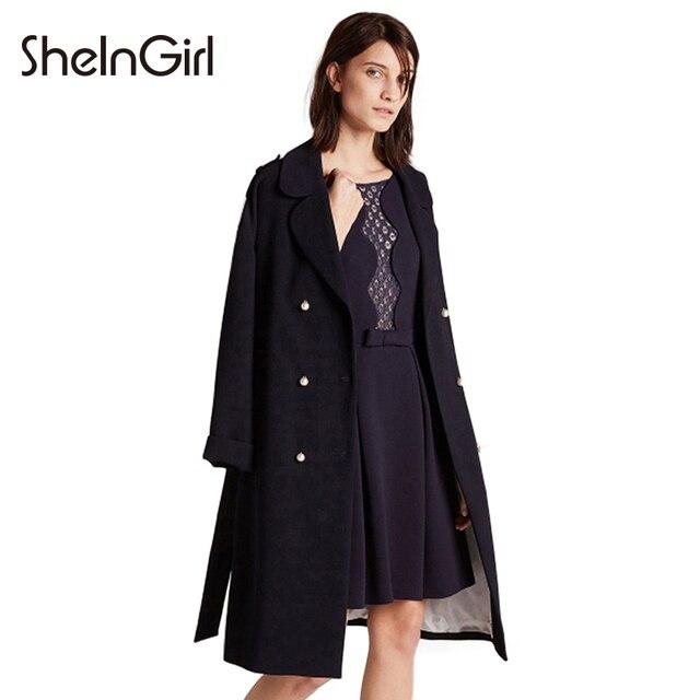 SheInGirl Осень Chic Теплый Женщины Пальто Синий Лоскутная Повседневная Женский Outwears Двубортный Шнурок Ярусного Пальто
