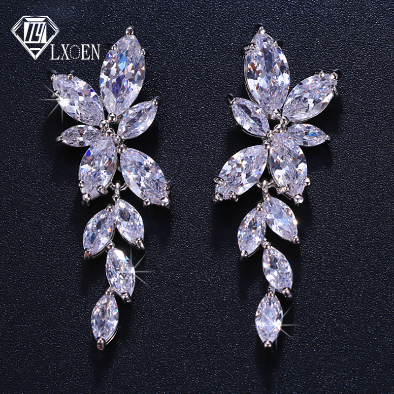 LXOEN Long-Drop-Earrings Flower Wedding-Jewelry Marquise Crystal Cz-Stone Leaf Bridal
