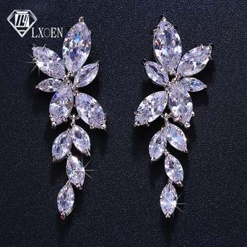 LXOEN Marquise Cut Flower Zirconia Crystal Long Drop Earrings for Women Shiny Leaf CZ Stone Bridal.jpg 350x350 - LXOEN Marquise Cut Flower Zirconia Crystal Long Drop Earrings for Women Shiny Leaf CZ Stone Bridal Wedding Jewelry