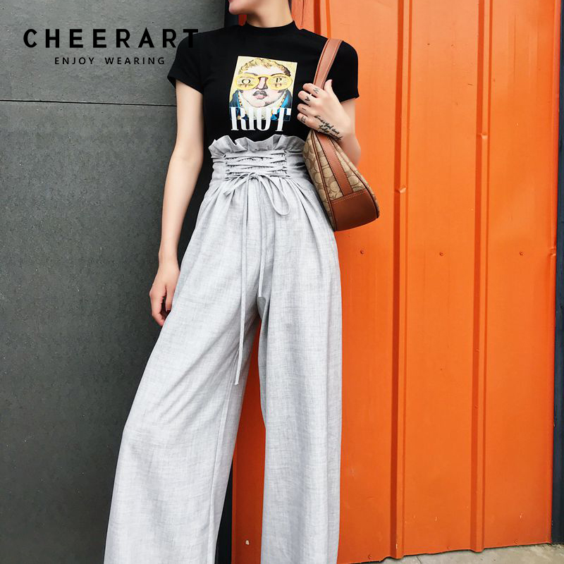 Cheerart Bandage Palazzo   Wide     Leg     Pants   Summer 2018 High Waist Long Trousers Women Loose Grey Black Drawstring   Pants   Streetwear