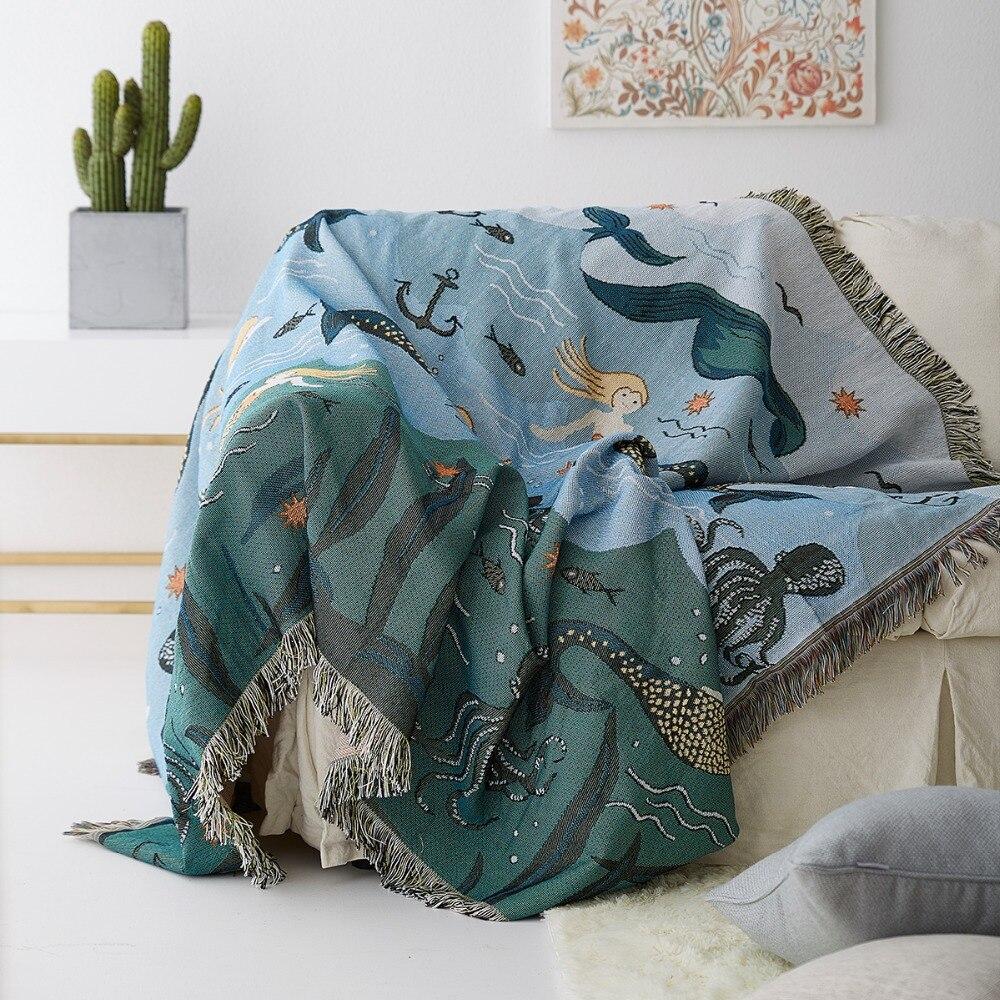 Sirène canapé tissu canapé couverture canapé couverture l'ensemble Gai Busha cheveux simple Double coton couverture canapé coussin