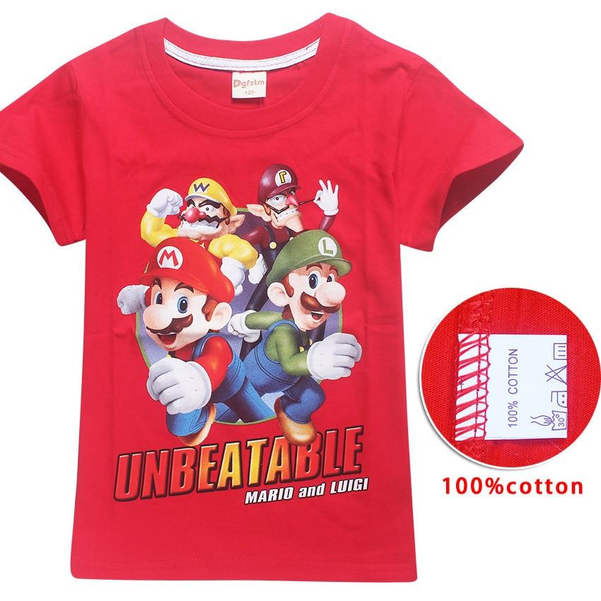 New Brand Children Cartoon Mario Print Short Sleeve T-shirt For Boy Girl 100%Cotton Tshirt Clothes Kid Tee Tops Costume clothes