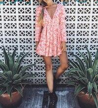 Summer Print Dress Women Floral Long Sleeve Dresses V Neck Evening Party Beach Girls Sundress Female