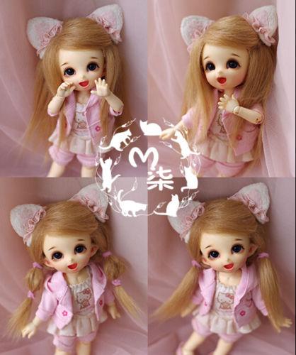 "New 5-6/"" 14cm Beige Fabric Fur Wig For AE PukiFee lati 1//8 Doll Antiskid bjd wig"
