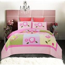 CHAUSUB bawełniana narzuta zestaw kołder 3 sztuk kołdry ręcznie kołdry różowe kwiaty aplikacja narzuta poszewka rozmiar Queen koc