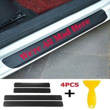 4pcs/set Car Door Window Protector Sticker Carbon Fiber Vinyl for Were All Mad Here
