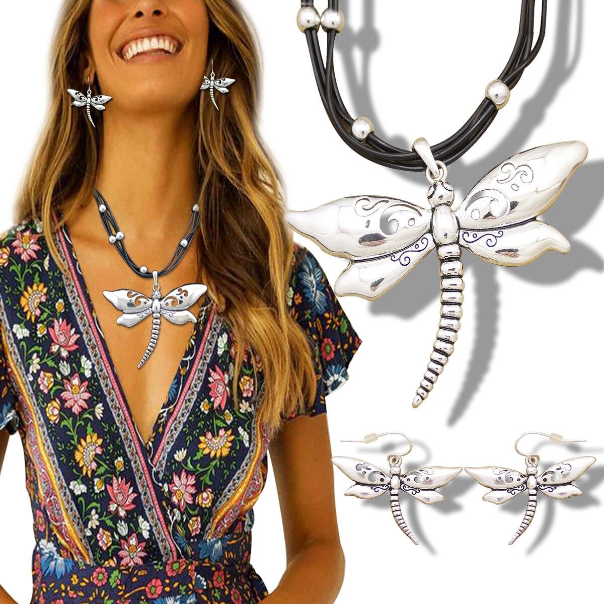 Grand tourbillon libellule boucles d'oreilles Collier ensemble en cuir chaîne Art Nouveau Collier victorien déclaration Collier pour femmes bijoux Vint