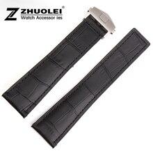 Promotion 20mm 22mm New high quality Alligator Crocodile Grain Black Genuine Leather Watch Band Strap deployment buckle