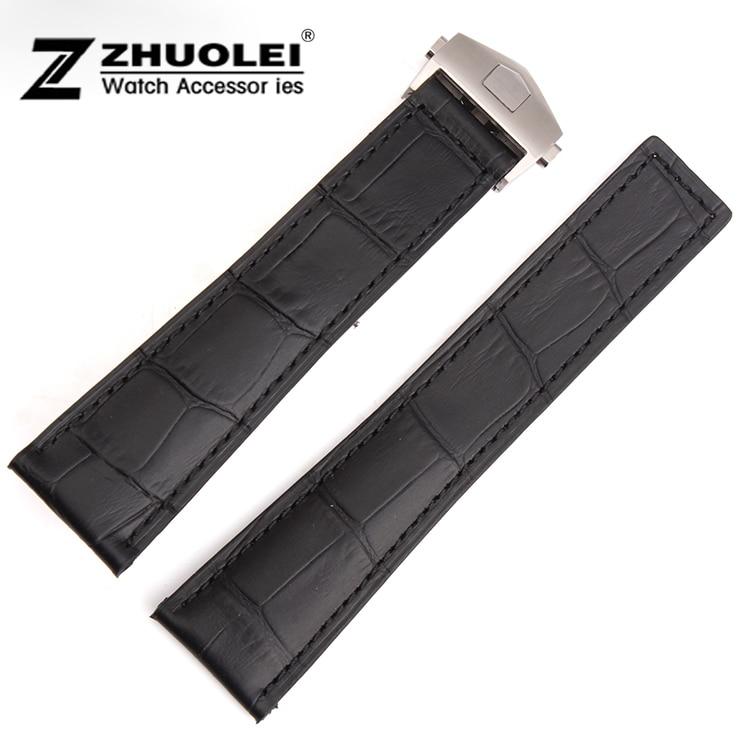 все цены на Promotion 20mm 22mm New high quality Alligator Crocodile Grain Black Genuine Leather Watch Band Strap deployment buckle