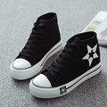 Sapatas de lona das mulheres de alta top calçados casuais lace up all tamanho 35-39 padrão de estrela sapatos alpercatas plimsolls scarpe donna XK081705
