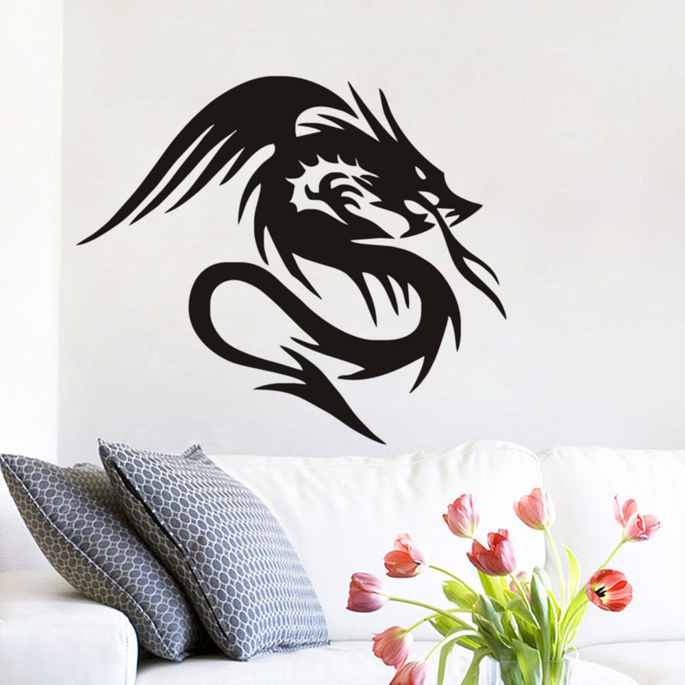 Bedroom Blue Wall Colours Bedroom Decor For Teenage Guys Bedroom View Bedroom With Dark Carpet: Chinese Dragon Mural Wall Stickers In Legend Wall Sticker Home Decor Living Room Bedroom Boy