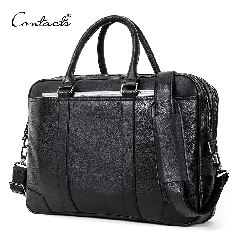 CONTACT S Men Briefcase Genuine Leather Big Business Messenger Bags Male Casual Shoulder Bag For Laptop