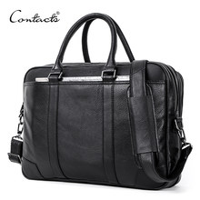 CONTACT'S Men Briefcase Genuine Leather Big Business Messenger Bags Male Casual Shoulder Bag For Laptop High Quality Handbags(China)