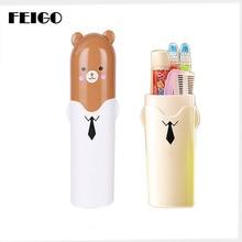 FEIGO 1Pcs Portable Tooth Box Cute Cartoon Bear Travel Toothbrush Holder Brush Cap Clean Case Cover Cup For Bath F670