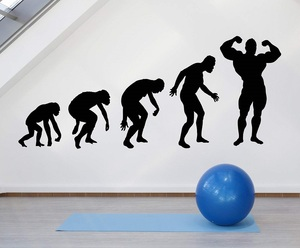 Image 1 - Fitness enthusiast Bodybuilding fitness vinyl wall stickers Man Gym youth dormitory bedroom home decoration wall decal 2GY7
