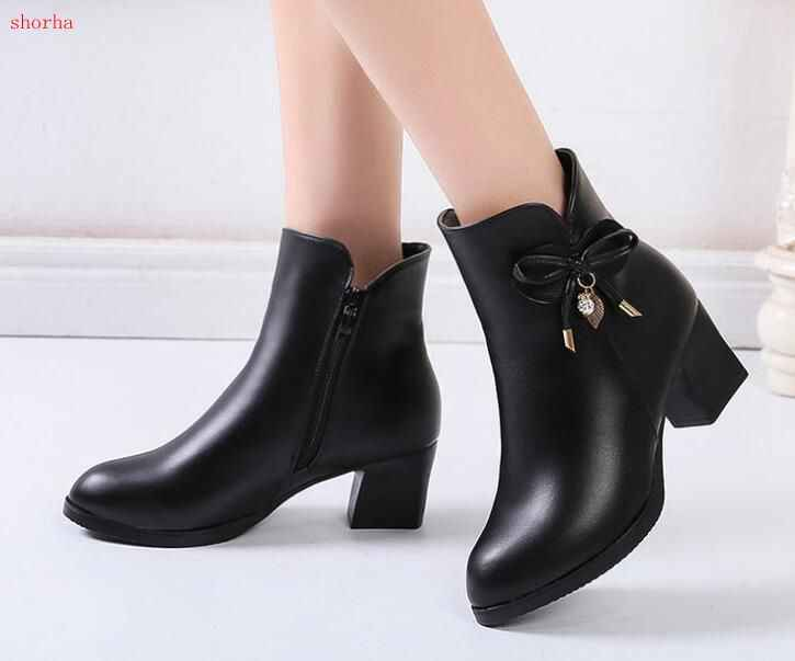 New fashion Women Boots Black Leather Ankle Boots For Women Bow High Heel Boots Autumn Female Shoes Size 35-41 Botas