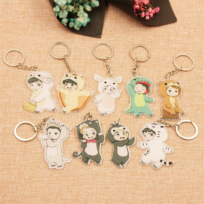 1PC Cute 9 Styles Cartoon EXO Acrylic Keychain Fashion Jewelry Accessories Cute Boys Shaped Pendants Keyring torres