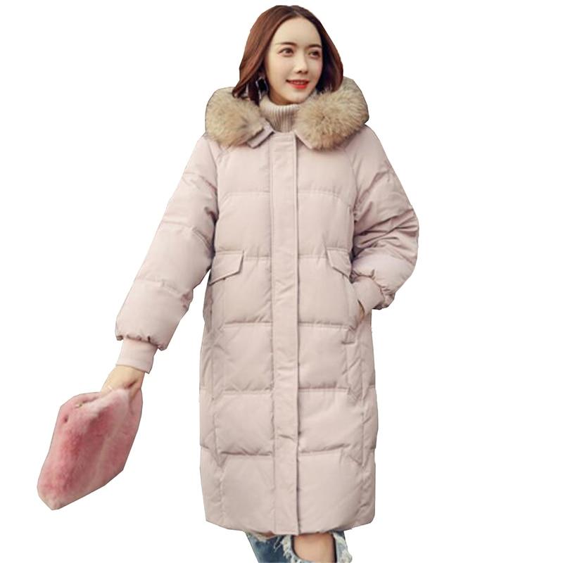 Winter Women's Down jacket 2018 Fashion Women 90% Gray Duck Down Coat Large Real Raccoon Fur Hooded Outerwear Female Parka