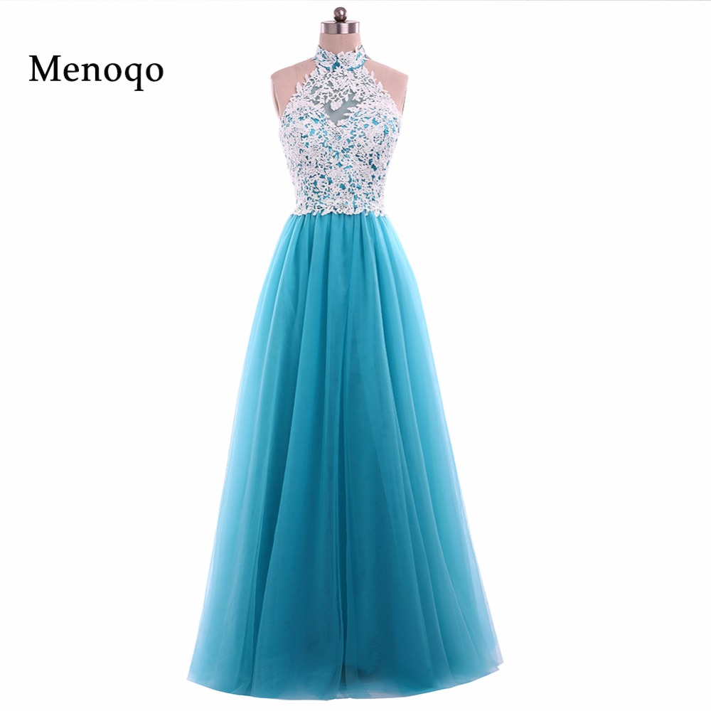 Menoqo New Arrival Real Photo Lace Tulle   Prom     Dresses   Long A line Halter neck Zipper Back Women Evening Gowns