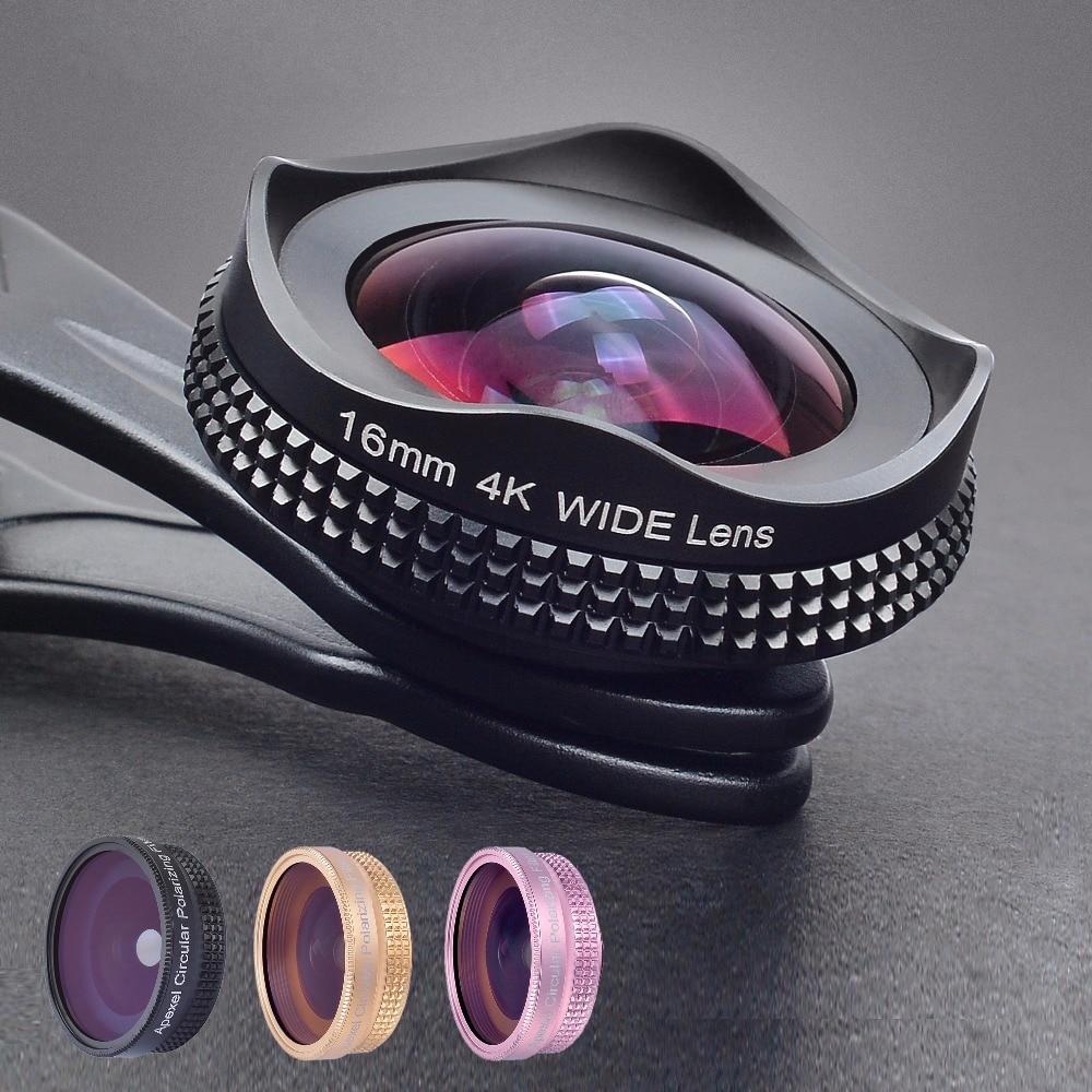 APEXEL Pro 16mm 4 k Super grand angle Lentille avec CPL Filtre 2 dans 1 HD Universel Clip Caméra lentille Kit pour iPhone Xiaomi Samsung Objectif
