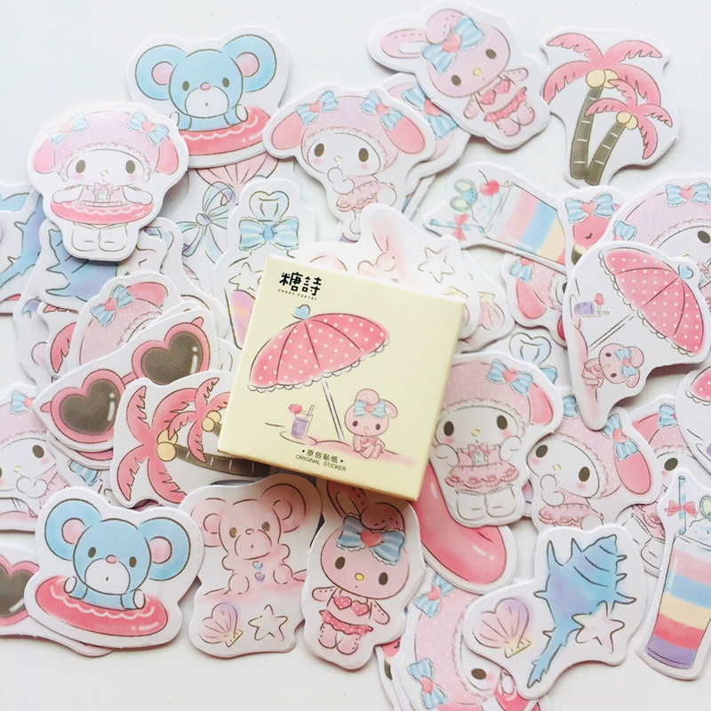 45 pcs/Box Cute My Melody Decorative Stickers Stick Label Hand Account Notebook Computer Decoration