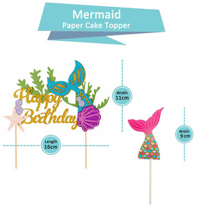 Image 2 - Happy Birthday Decoration Mermaid Paper Cake Topper Princess Garland 1st First Birthday Boy Girl Party Supplies