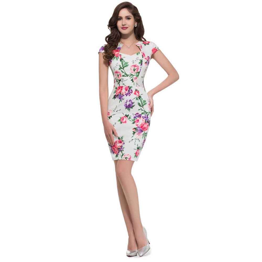 b1e2dde2e2e5 ... Short floral midi dresses 2016 summer style Slim Bodycon Sheath Party  Prom women Casual print office ...