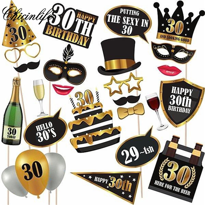 Chicinlife 24Pcs 30/50/<font><b>60th</b></font> Happy <font><b>Birthday</b></font> Photo Booth Props Mask Photobooth Adult Party <font><b>Decoration</b></font> Supplies image