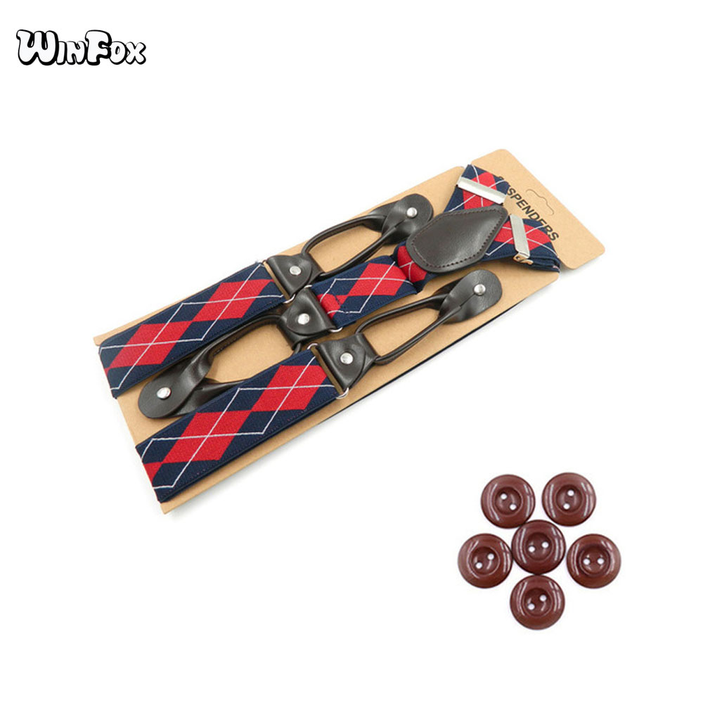Winfox Vintage Black Burgundy Khaki 3.5cm Wide Plaid Suspenders Men Leather Button Suspenders Pant Braces Male