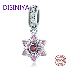 DISINIYA  100% 925 Sterling Silver Pendant Pink Crystal Spring Flower CZ Charm fit Bracelet & Necklace Jewelry SCC840