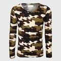 Militar Del Ejército Del Camuflaje de Manga Larga Camiseta de Los Hombres de la Aptitud Top Camisetas Cuello En V Imprimir T Shirt Slim Fit Hombre Camo Fresco