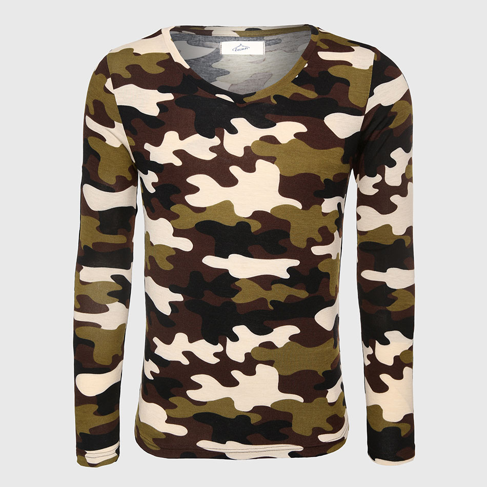 Military army long sleeve camouflage t shirt men fitness for Camouflage t shirt printing