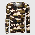 Military Army Long Sleeve Camouflage T-Shirt Men Fitness Top Tees V Neck Print T Shirt Slim Fit Male Camo Cool