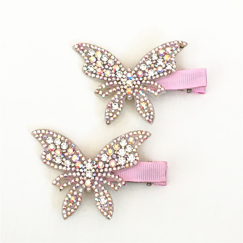 2pcs/lot Hair Clips Girls Butterfly Twinkling Hairpins Shiny Rhinestone For Lovely