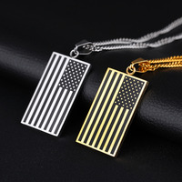 Unisex Stars And Stripes Pendant Necklace Gold Color Stainless Steel 3
