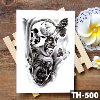 Family Rose Time clock Skull Temporary Tattoo Sticker Scorpion Tower Waterproof Tattoos Body Art Arm Fake Tatoo Men 5