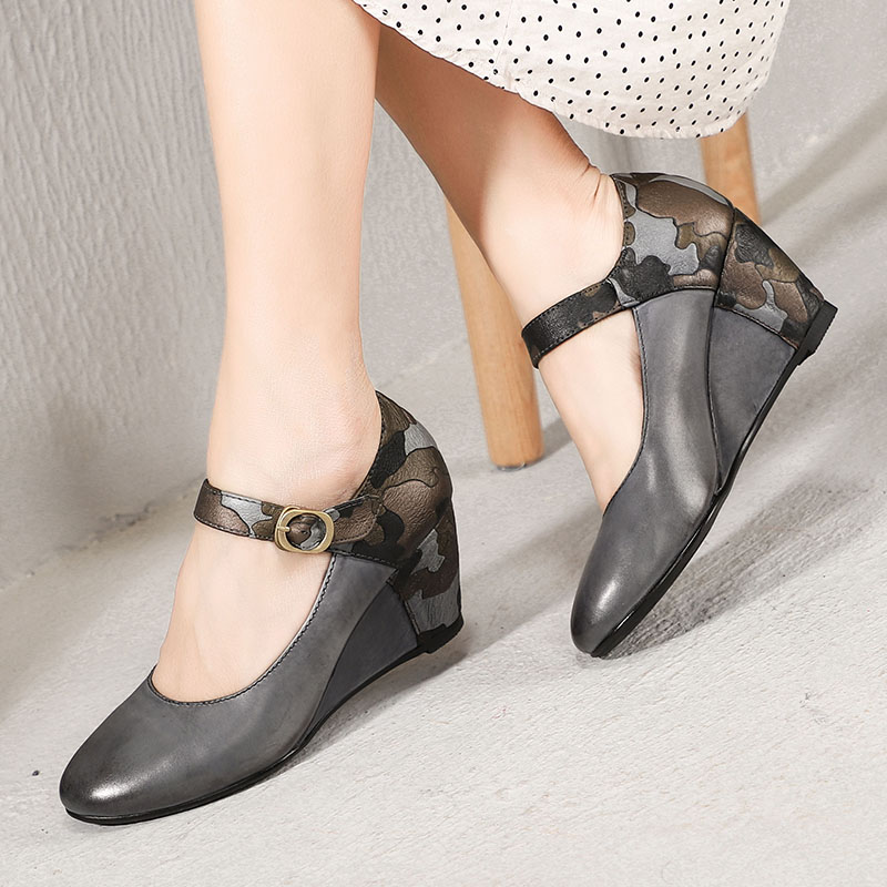 2019 Original Design Women Shoes Wedge Pumps Pointed Toes Ankle Strap Buckle Spring New Arrival Handmade