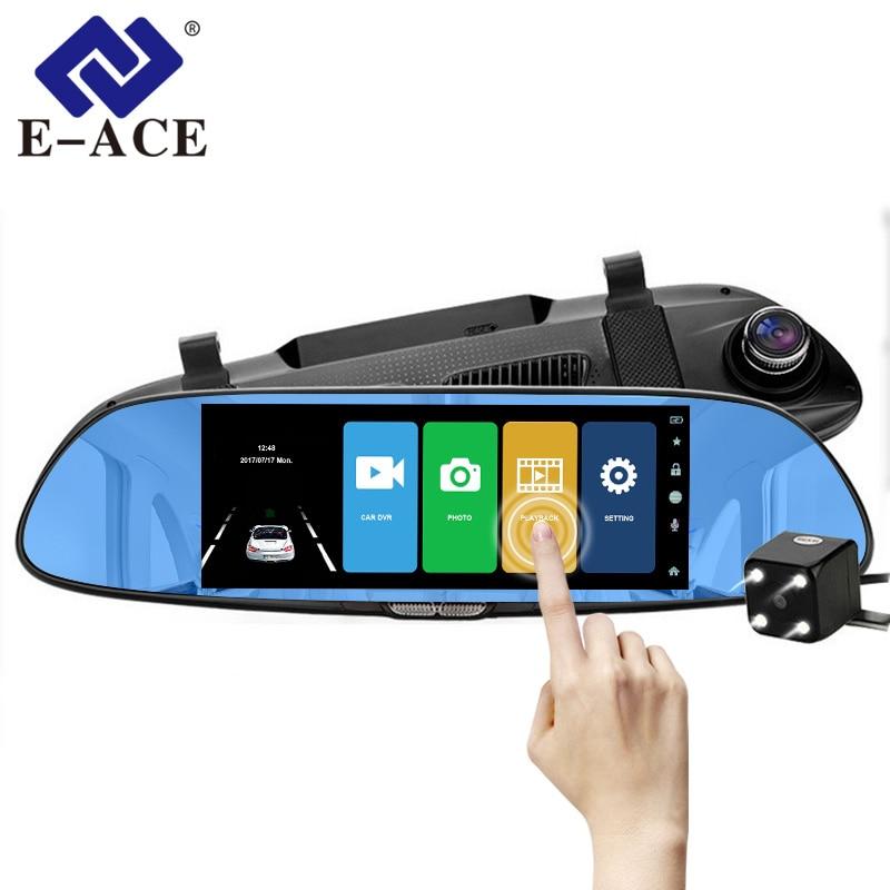 E-ACE Car Dvr Rearview-Mirror-Touch Dash-Camera Auto-Video-Recorder Dual-Lens 1080P FHD