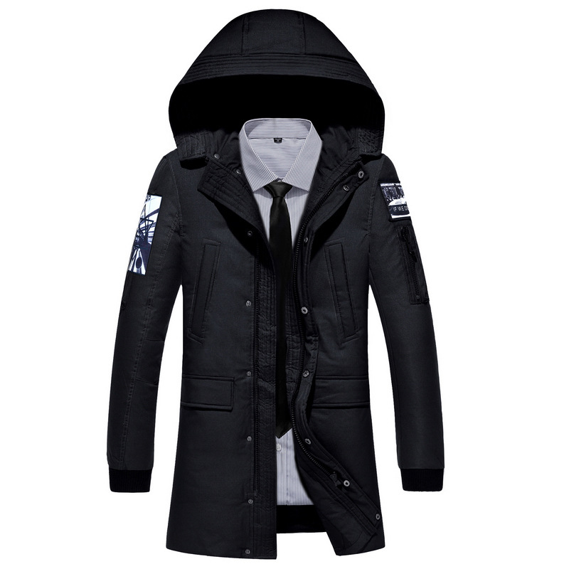 2017 New Clothing Jackets Business Long Thick Winter Coat Men Solid Parka Fashion Overcoat Outerwear