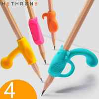 Hethrone Kawaii 4pcs/Set Colorful Silicone Creative Children Pencil Holder Correction Hold Pen Writing Grip Posture Aid Tool