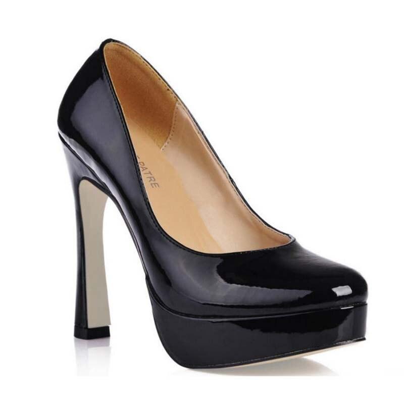 цена на 2017 Women Shoes High Heels Patent Leather Black Dress Shoes Ladies Sexy Pumps Platform Thick Heels Fashion Party Wedding Shoes