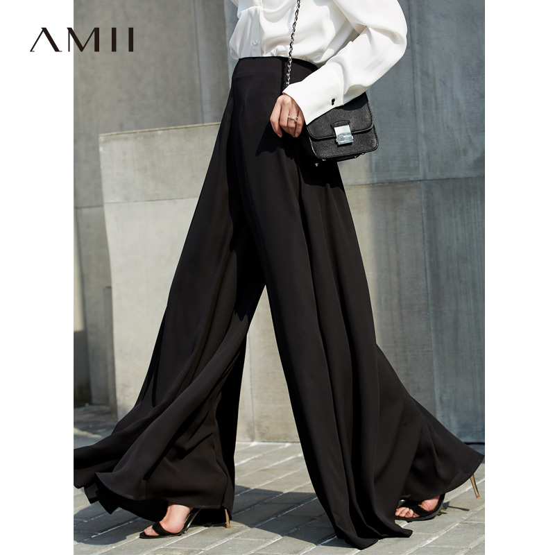 Amii Women Minimalist Wide Leg Pants 2019 Chiffon Asymmetric Ruffles High Elastic Waist Loose Female Trousers
