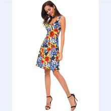 Printed Vests Summer Dresses  Beach Frock Dresses  Sexy Party Night Club  A-Line  Beach Style  Vestidos женское платье grace karin 50 vestidos 6093 cl6093 sexy party dresses women 2015