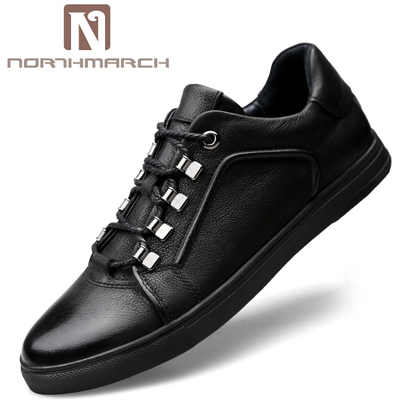 NORTHMARCH 2018 New Men Shoes Genuine Leather Casual Elastic Band Top Quality Men Shoes British Style Spring Autumn Men Shoes men business dress shoes fashion lace up flats genuine leather formal office loafers party wedding oxfords shoes male walkerpeak
