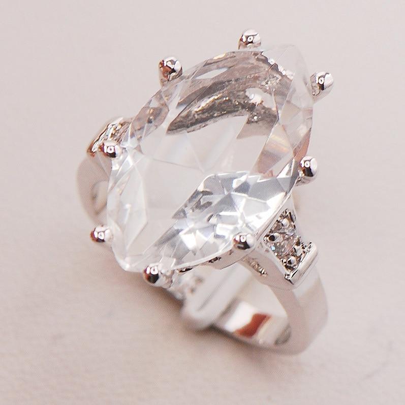 White Crystal Zircon Women 925 Sterling Silver Ring F734