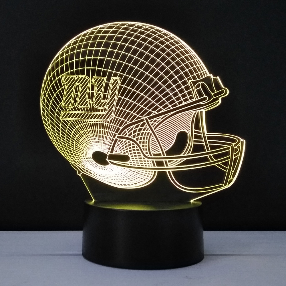 Creative 3D USA American Football Helmet Shape LED NightLight USB Colorful Gradient Rugby Cap Table Lamp Bedside Home Decor Gift