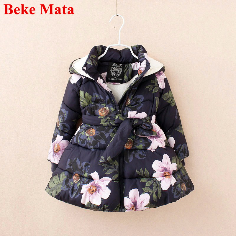 Beke Mata Kids Jackets For Girls 2017 Cotton Warm Thicken Girl Winter Coat Floral Print Toddler Girl Parkas Children Jacket usb концентратор pc pet paw белый