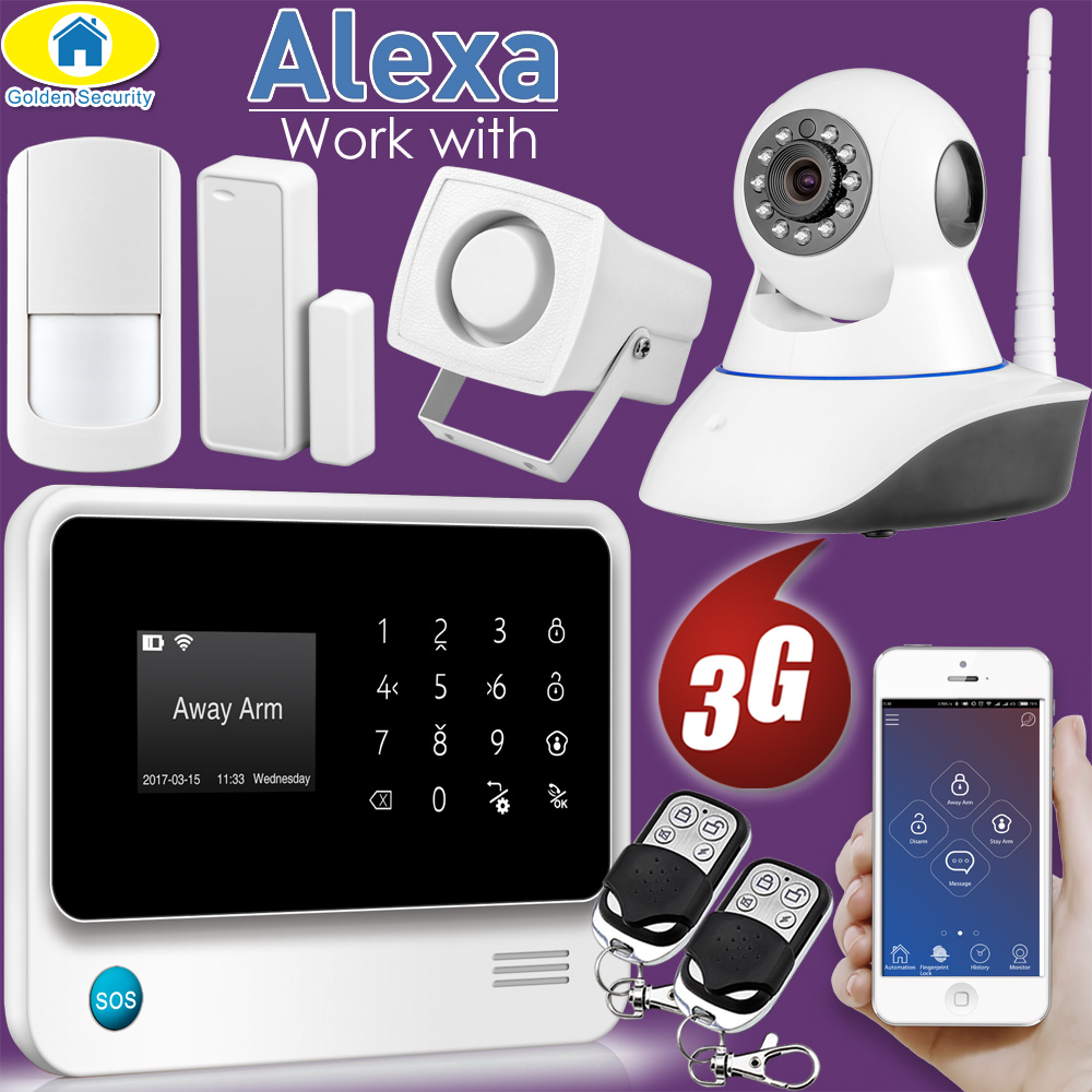 Golden Security Alexa Compatible WIFI 3G GSM IP Camera Integrated Wireless Home Security APP Remote Control